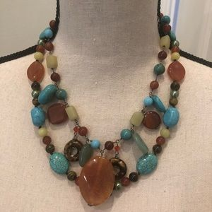 2 Faux Turquoise and Stone Necklaces